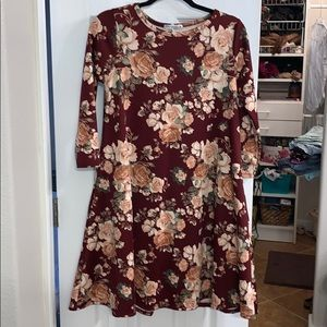Floral honey and lace dress